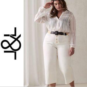 Love & Legend White Denim Button Fly Capri Pant